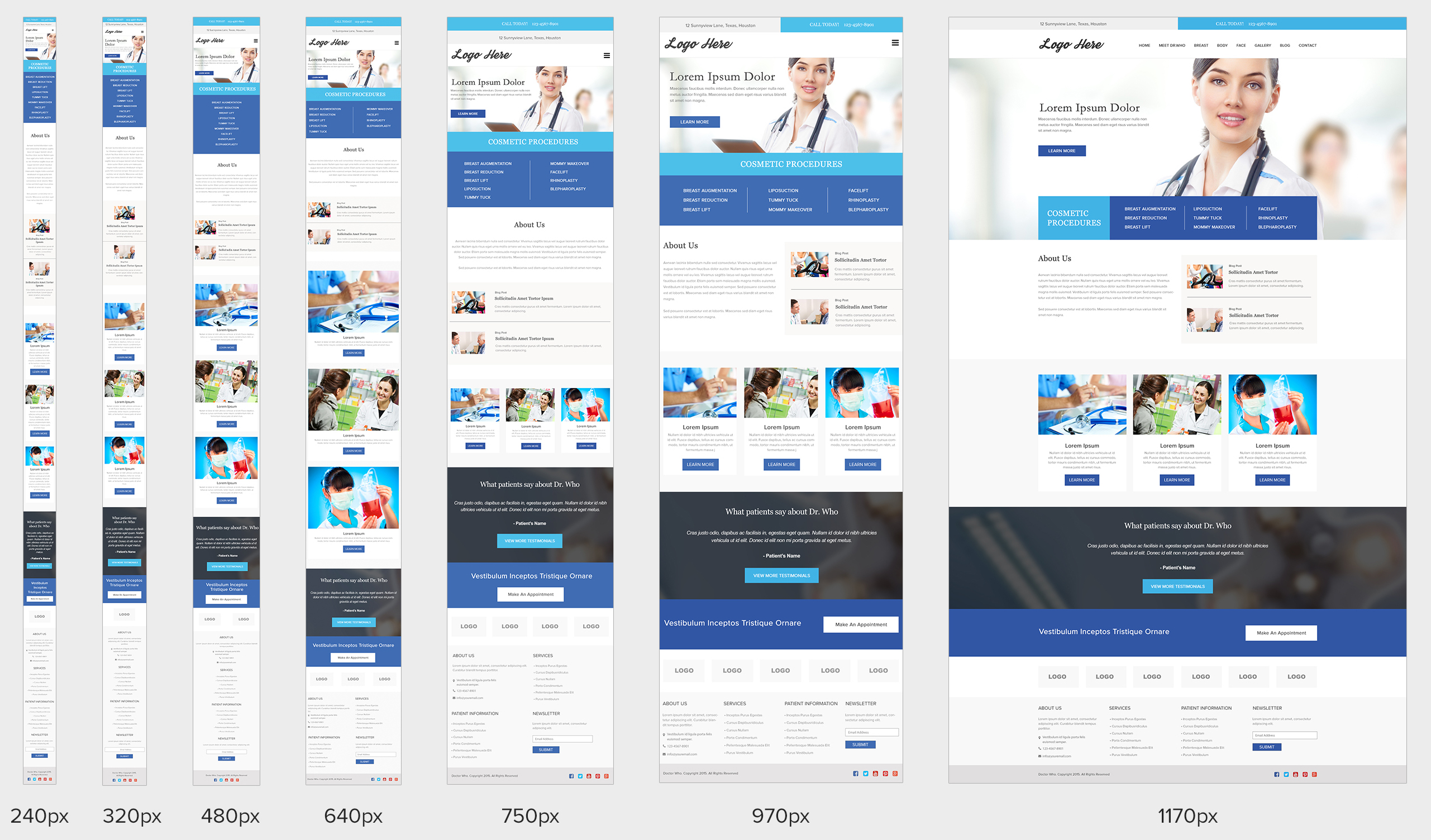 Responsive website design with all breakpoints